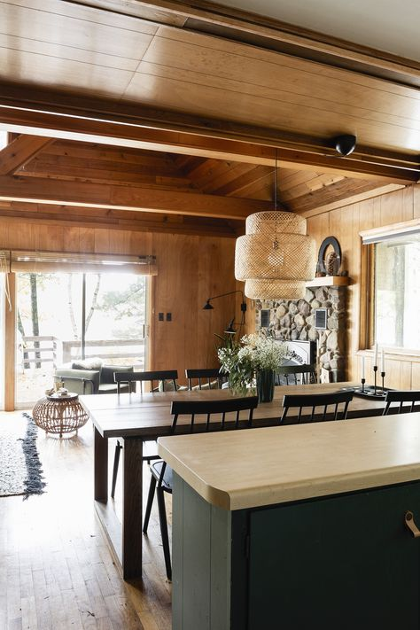 Youngsters Area Home Furnishings Cabin Kitchen Reveal Deuce Cities Henhouse Log Cabin Furniture, Rustic Wood Furniture, Western Furniture, Furniture Design, Rustic Cabin Decor, Rustic Cabins, Lodge Decor, Log Cabins, Cabin Homes