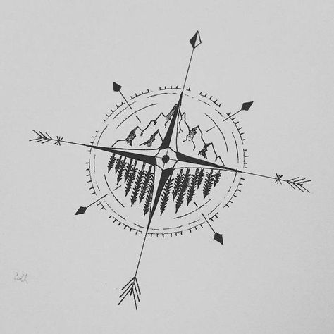 black-white-drawing-forest-landscape-compass-meaning-white-paper