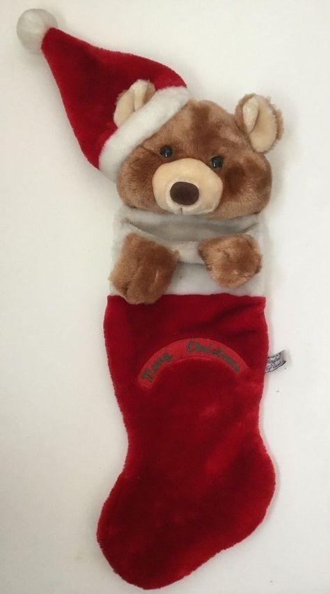 Bear Christmas Stocking.Vtg 1988 Chrisha Playful Plush Christmas Stocking Teddy Bear
