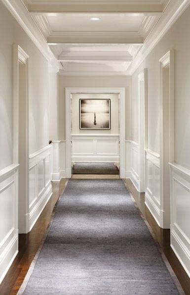 The Picture Is Clearly The Focal Point And The Lighting And Relative Plainness Of The Walls Helps To Dining Room Wainscoting Hallway Designs Wainscoting Wall