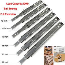 "Pair of Full-Extension Ball Bearing Zinc Drawer Slide 12-22/"" 100lb Load Capacity"