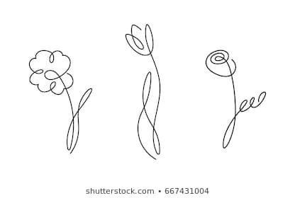One Line Design Silhouette Of Flowers Vector Illustration Line Art Tattoos One Line Tattoo Abstract Line Art