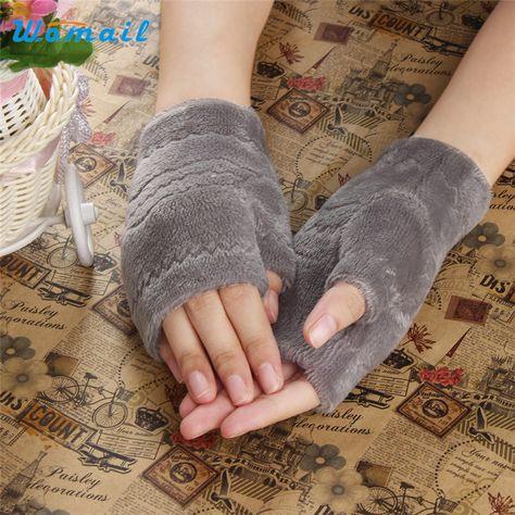 Erstaunlich Winter Herbst Dicke Warme Womens Winter Handschuhe Fingerlose Handschuh Schwarz Rot Grau Braun