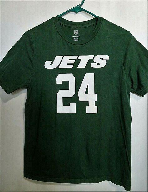 NFL T-Shirt NY Jets #24 Darrelle Revis Boys Large 14-16 Dark Green 100% Cotton #NFL #NewYorkJets
