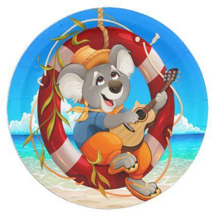 Tropical Beach Guitar Playing Koala Paper Plate Zazzle Com Tropical Beach Beach Party Supplies Party Tableware