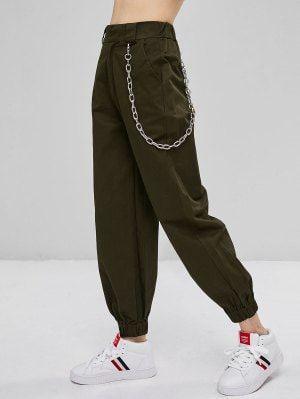 Pantalones Jogger Con Adornos De Cadena Verde Del Ejercito M Pantalones De Moda Ropa De Moda Moda De Ropa