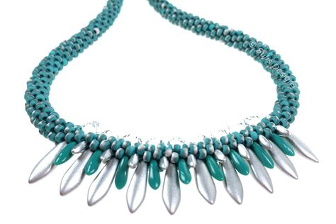 mint blue turquoise necklace polaris pearls necklace with TOHO Rocailles