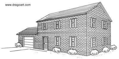 Una Casa De Ladrillos Vista En Perspectiva En 2019 Dibujos