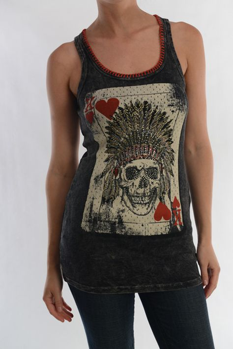 Hot,Hot,Hot! Indian King of Hearts. Stone-washed black tunic tank with red accent stitching around the neck and embellished Indian Skull on the front and back of shirt. This is a must have!!