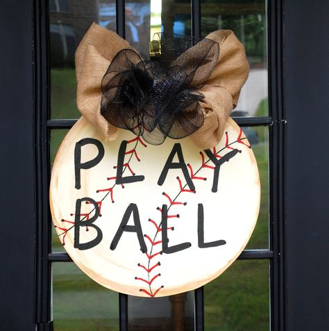 Door Hanger: Baseball, Baseball Wall Decor, Vintage Style Baseball Decor. $40.00, via Etsy.