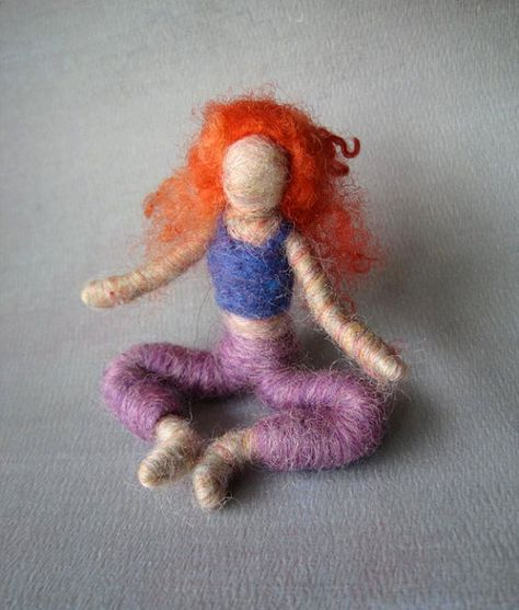 Sara the Needle Felted Yoga Doll (red curly haired), Original design by Borbala Arvai