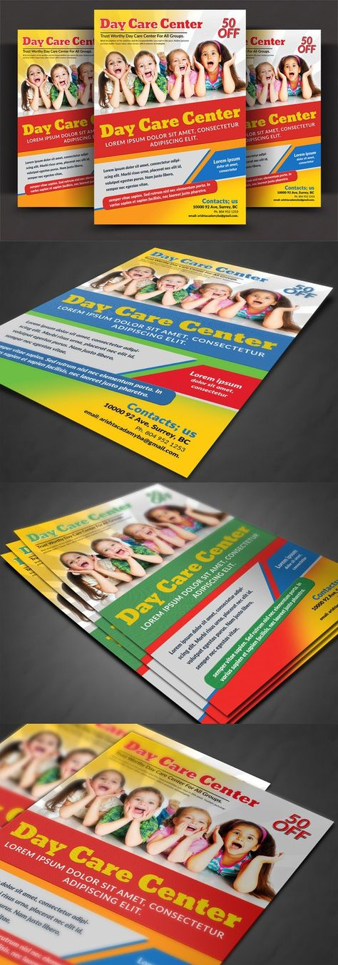 20+Modern Baby Daycare Flyer PSD Mockups ! Mockup and Letter size - daycare flyer template