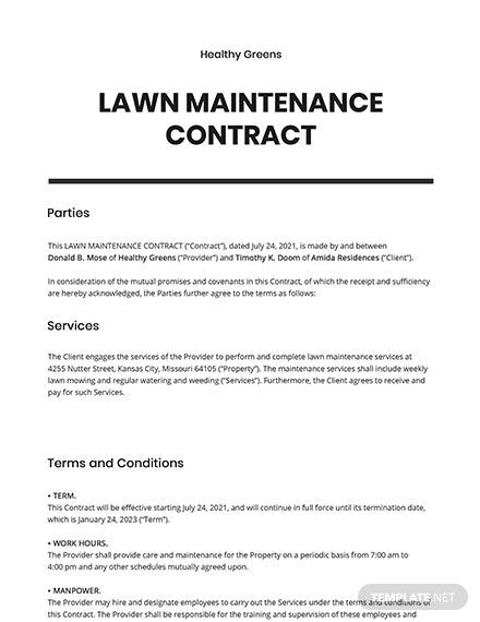 Lawn Maintenance Contract Template Free Pdf Google Docs Word Apple Pages Pdf Template Net Lawn Maintenance Contract Template Contract