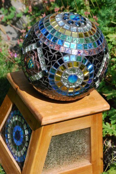 Mosaic Gazing Ball Nature Under Mosaic Bowling Ball Mosaic Garden Art Mosaic Garden