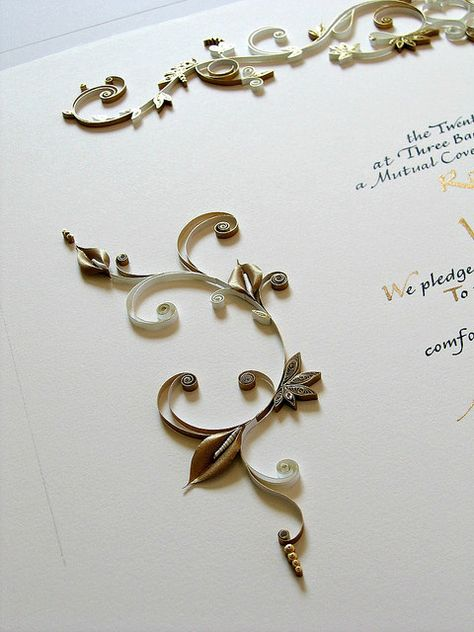 Quilled Anniversary Certificate - Detail