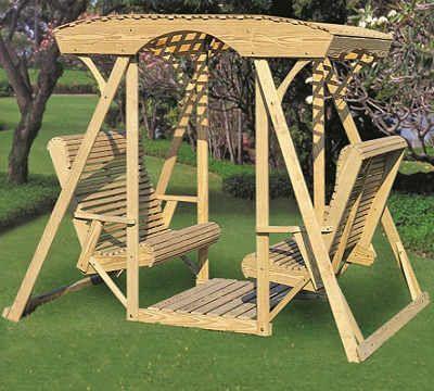 Double Lawn Swing Latticetop Rollback Style Gazebo Depot