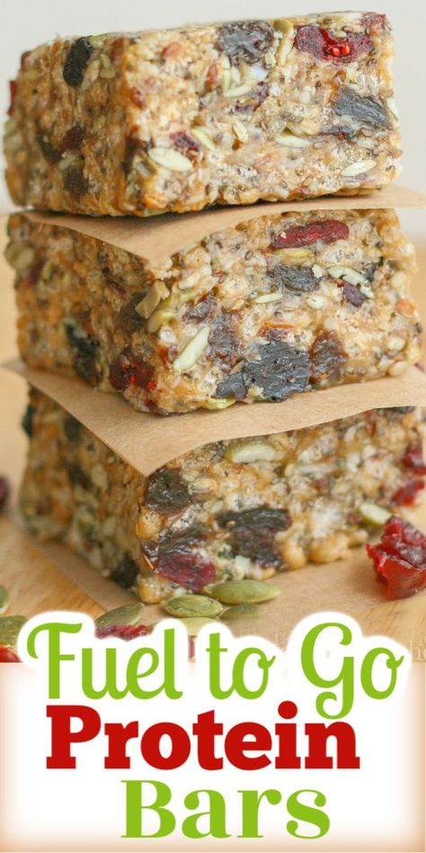 Fuel to Go Homemade Protein Bars are super tasting and healthy. Loaded with hemp chia sunflower and pumpkin seeds and dried fruit. Healthy Granola Bars, Healthy Protein Snacks, Protein Bar Recipes, Healthy Bars, Healthy Baking, Healthy Recipes, High Protein, Protein Lunch, Healthy Shakes