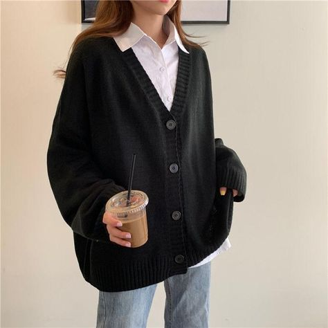 Sweater Women Autumn V-neck Single Breasted Solid Cardigan Spring Korean New Leisure Female Outwear Sweaters Knit All-match Ins - XL / black