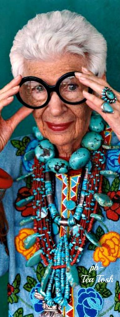 Iris Apfel.... The Accessory Queen! - more is more, less is a bore - Businesswoman, Interior Designer and Fashion Icon!!