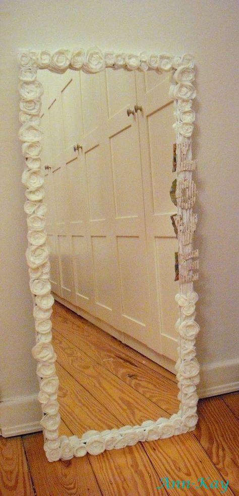 DIY: Easy Mirror Makeover  $5.00 Walmart Mirror, Hobby Lobby Flowers and Hot Glue!  SO cute!