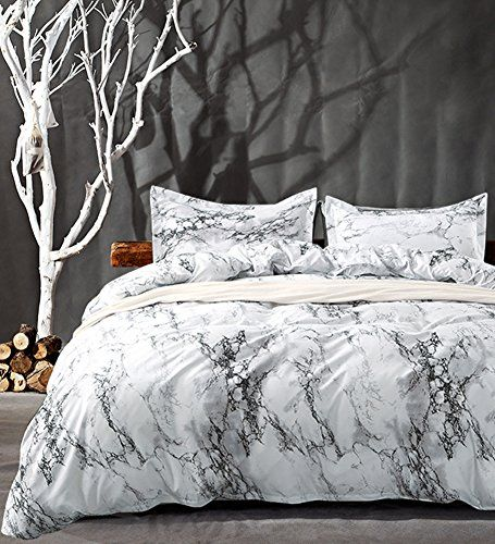 Nanko Queen Bedding Duvet Cover Set White Marble 3 Piece 1000
