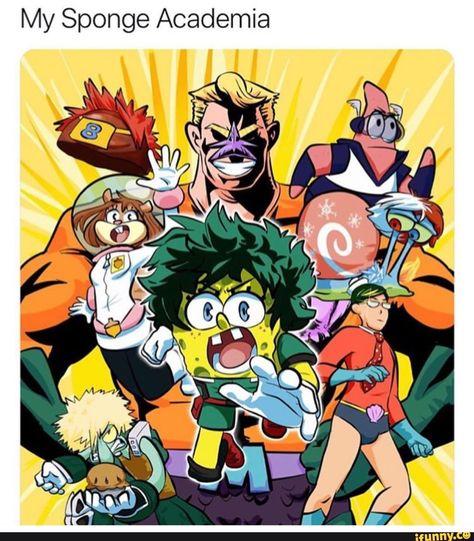 My Hero Bikini Bottom. - My Hero Bikini Bottom. Fanarts Anime, Anime Manga, Anime Art, My Hero Academia Shouto, Hero Academia Characters, Jack Kirby, Familia Anime, Cartoon Crossovers, Stupid Funny Memes