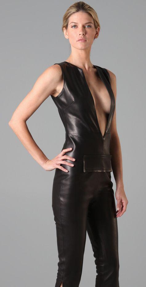 Sleeveless black Leather Catsuit with speedy Zip