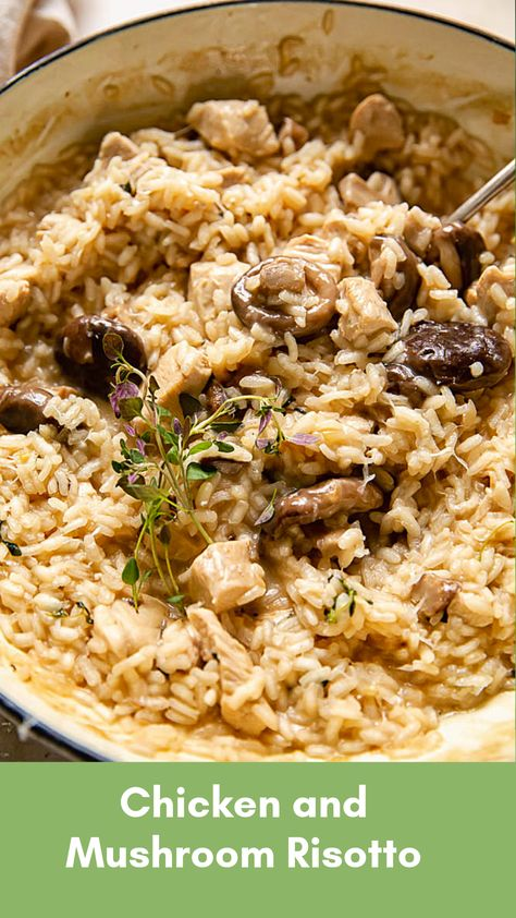 One pan Chicken Risotto with Mushrooms and Thyme. Learn to make creamy risotto in 30 minutes. Quick and easy comfort food dinner that is not too heavy. Chicken Mushroom Risotto Recipe, Quirky Cooking, Cooking Recipes, Healthy Recipes, Rice Recipes, Chicken And Vegetables, Chicken Thyme, Comfort Food, Italian Recipes