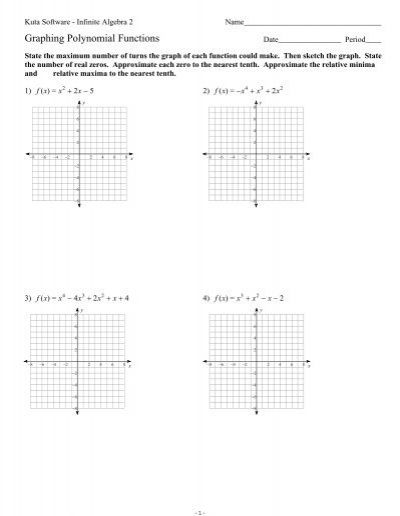 Graphing Polynomial Functions Worksheet Polynomials Polynomial Functions Like Terms