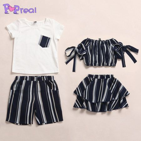 Brother Sister Contrast Stripes Matching Outfits i 2020 (med