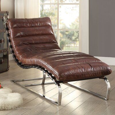 A J Homes Studio Qortini Leather Chaise Lounge In 2020 Big Comfy