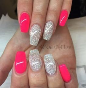 coffin hot pink nails with silver glitter  nail and