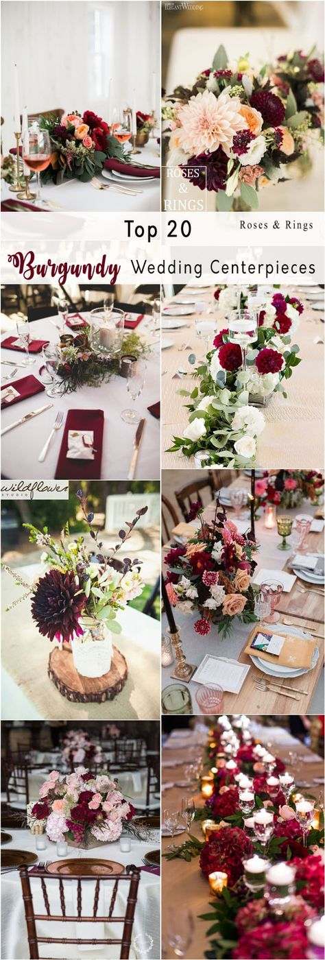 fall burgundy wedding centerpiece decor ideas