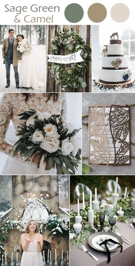 The Best 10 Winter Wedding Colors to Inspire The Best 10 Winter Wedding Colors to Inspire,Hochzeit Deko sage green and camel brown winter wedding inpiration ideas wedding decorations wedding wedding table decorations wedding