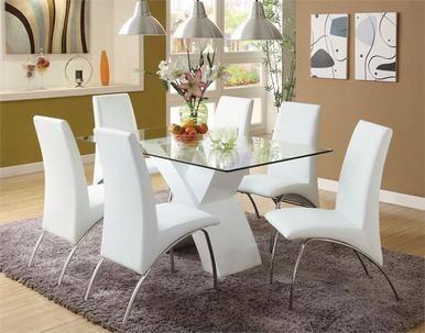 59 Lydia Glass Chrome White Table Set Salle A Manger Elegante