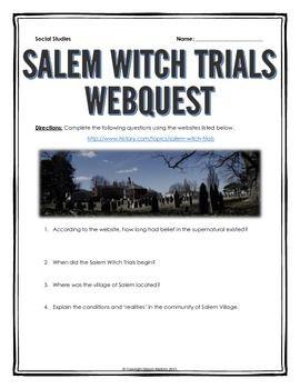 Salem Witch Trials - Webquest with Key | Salem witch trials, Witch ...