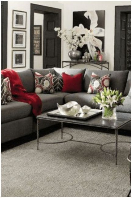 Red And Black Living Room Furniture Sets Grey And Red Living Room Red Living Room Decor Living Room Decor Gray