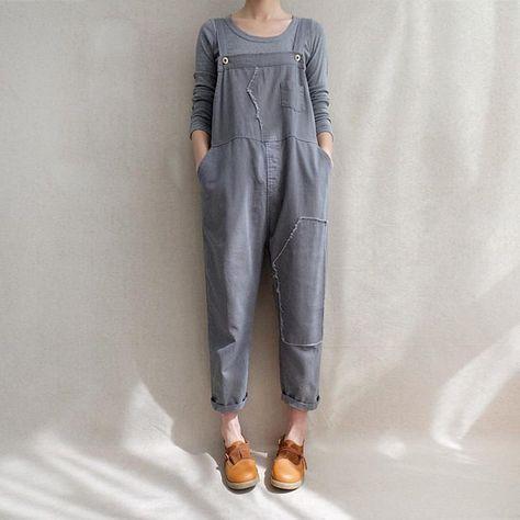 Retro Women/'s Leisure Suspender Trousers Overalls Loose Cotton Linen Short Pants