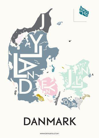 Danish Love Typographic City Posters Plakat Danemark Urlaub Urlaub