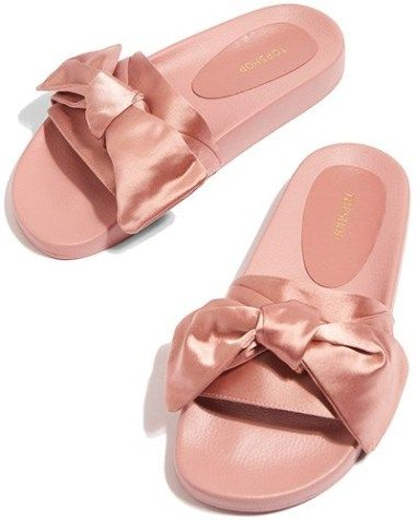 new arrival 4b55e 8a033 Topshop Halo Bow Slides in nude pink (Fenty x Puma by ...
