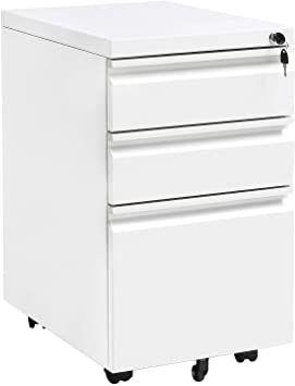 Locking File Cabinet Rolling Metal Filing Cabinet 3 Drawer Fully Assembled Office Pedestal Files Except Wheel White In 2020 Filing Cabinet Metal Filing Cabinet Drawers