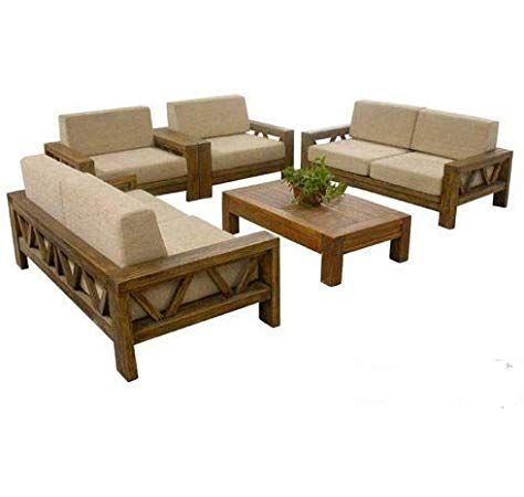 Royal Interiors Wooden Fabric Sofa Set 3 2 1 Wooden Finish Maroon Amazon In Home Ki Furniture Design Living Room Wooden Sofa Set Designs Wooden Sofa Set