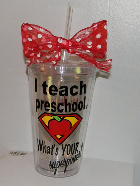 Personalized Preschool Teacher Gift tumbler by dreamingdandelions, $10.00