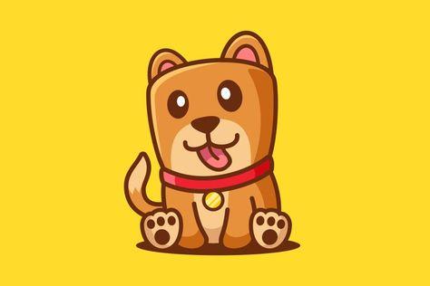 Cartoon Cute Dog Sit Down (1346122) | Characters | Design Bundles