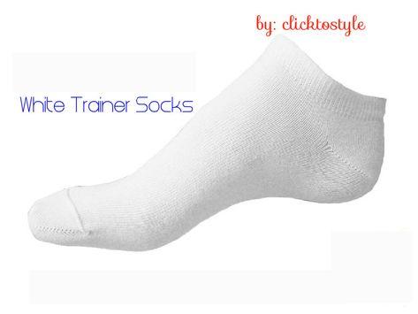 Trainer 12 Pairs Sport Trainer Ankle Socks Cotton Plain WHITE BLACK  UK 6-11