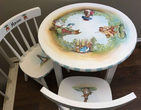Hand Painted Kids Table And Chair Set Children S Table And Chairs Kids Painted Furniture Peter Rabbit Table Set Painting Kids Furniture Paint Kids Table Kids Table And Chairs