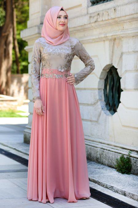 Tesettur Island Gold Dantelli Abiye Elbise Modelleri Moda