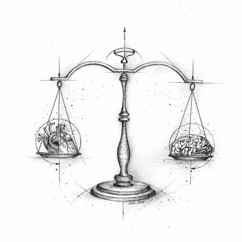 Balance is everything. Heart and Brain Drawings. Click the image, for more art by Evelyn Lorenz. Brain Drawing, Brain Art, Balance Tattoo, Balance Art, Small Tattoos, Tattoos For Guys, Cool Tattoos, Brain Tattoo, Libra Tattoo