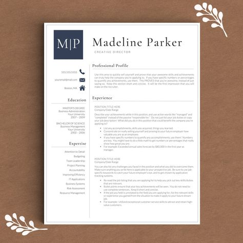Pretty Initials Design On This Professional Resume Template