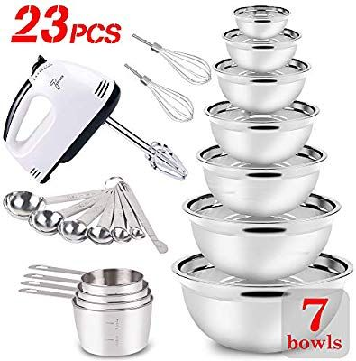 23 Pcs Mixing Bowl Set Stainless Steel Electric Hand Mixer Measuring Cups And Spoons Cake Coo Stainless Steel Mixing Bowls Electric Hand Mixer Mixing Bowls Set